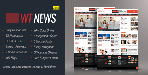 WT News Responsive Joomla! News And Magazine Template